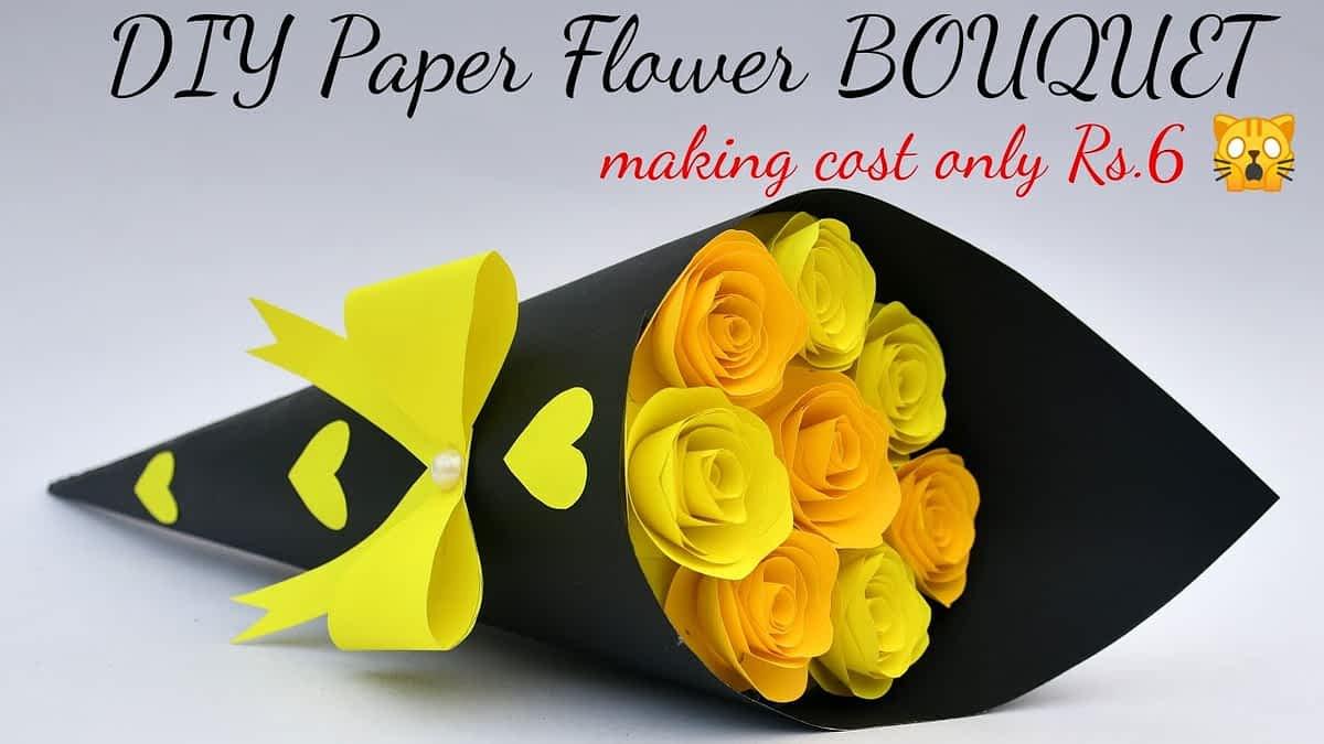 DIY Paper Flower BOUQUET/ Birthday gift ideas/Flower Bouquet making at Homemade Easy Craft (Cute)