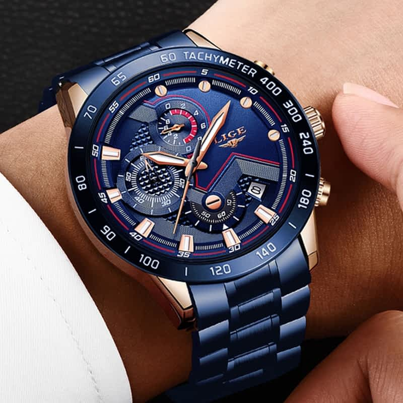 New Fashion Mens Watches with Stainless Steel Top Brand Luxury Sports Chronograph Quartz Watch Men Relogio Masculino